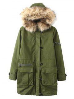 Pockets Fur Hooded Cargo Coat - Green S