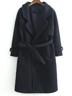 Woolen Lapel Collar Belted Coat - Black L