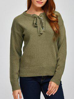 Leisure Lace-Up Sweater - Army Green