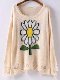 Scoop Neck Sunflower Jacquard Ripped Sweater - Apricot M