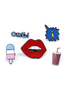 Beverage Lip Letters Brooch Set - Red