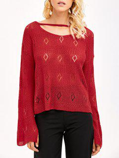 Slit Cuff Hollow Out Knitwear - Red