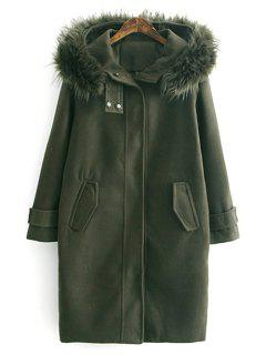 Fur Hooded Woolen Coat - Army Green L
