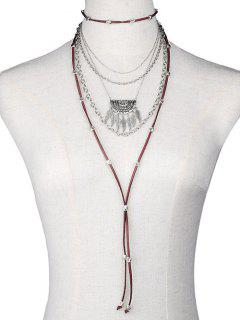 Chain Feather Faux Leather Multilayer Necklace - Silver