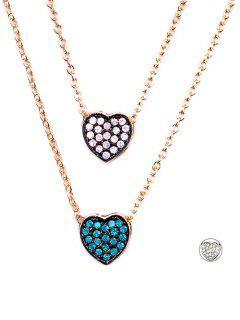 Rhinestone Layered Heart Necklace - Golden
