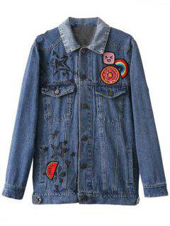 Cartoon Letter Patch Denim Jacket - Denim Blue S