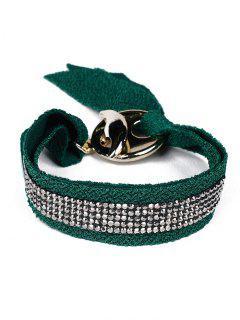 Bracelet En Laine De Coton Avec Strass Et Noeud - Vert