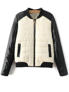 PU Leather Panel Baseball Padded Coat - White And Black S