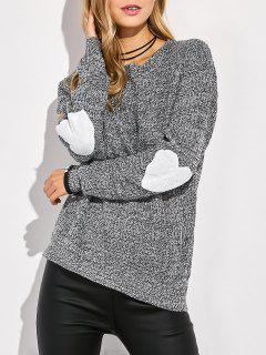 Heart Elbow Patch Round Neck Sweater - Gray M
