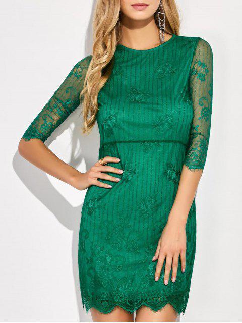 Robe en dentelle à mini manches et en pans de feston - Vert XL Mobile