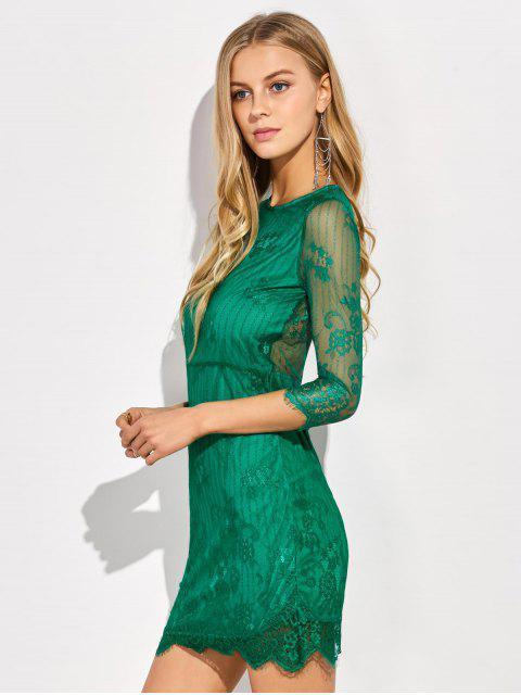 shops Scalloped Mini Floral Lace Dress - GREEN M Mobile