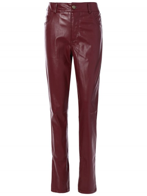 ladies Skinny Pockets Faux Leather Pants - BURGUNDY S Mobile
