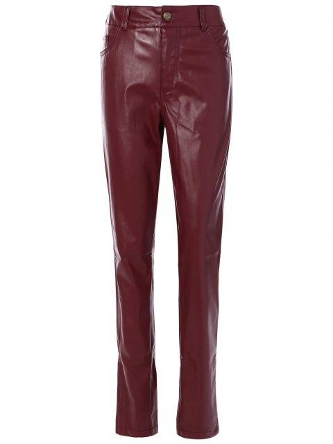 Enge Hose aus PU-Leder mit Taschen - Burgund S Mobile