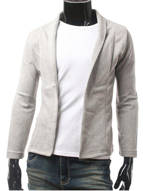 Slim Fit Strickjacke mit Schalkragen - Hellgrau L Mobile