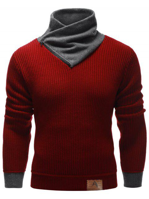unique Zip Up High Neck Ribbed Pullover Sweater - BURGUNDY M Mobile