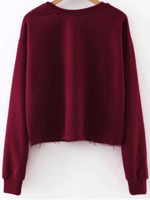 hot Raw Edge Graphic Sweatshirt - RED M Mobile
