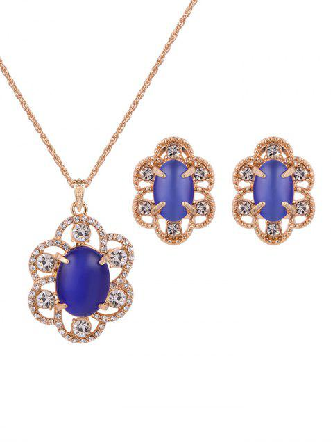 shops Rhinestone Floral Faux Opal Jewelry Set -   Mobile