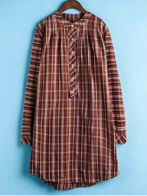 shops Plaid Buttoned Long Sleeve Dress - JACINTH 2XL Mobile