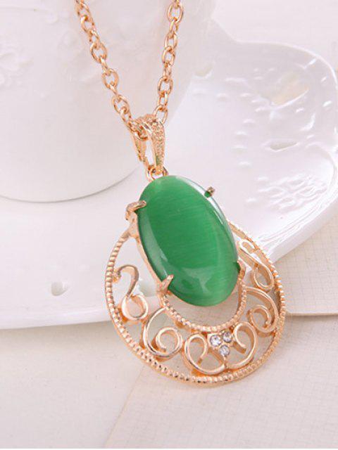 trendy Rhinestone Faux Opal Jewelry Set -   Mobile