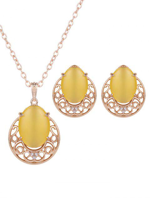 chic Rhinestone Faux Opal Jewelry Set - YELLOW  Mobile