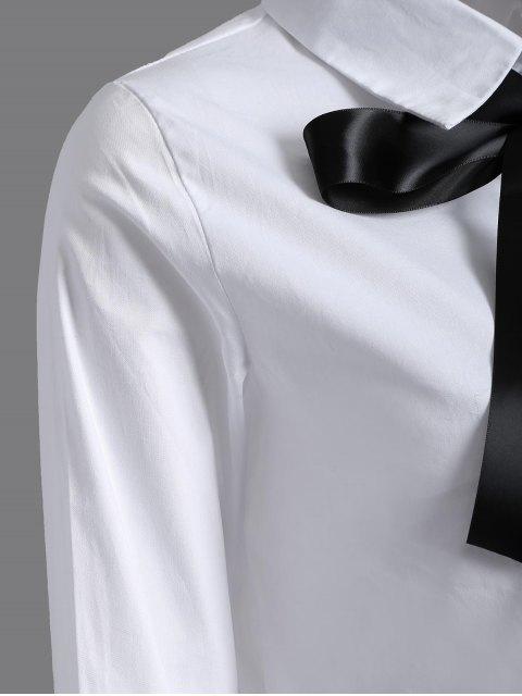 shop Bowknot Long Sleeve Shirt - WHITE M Mobile