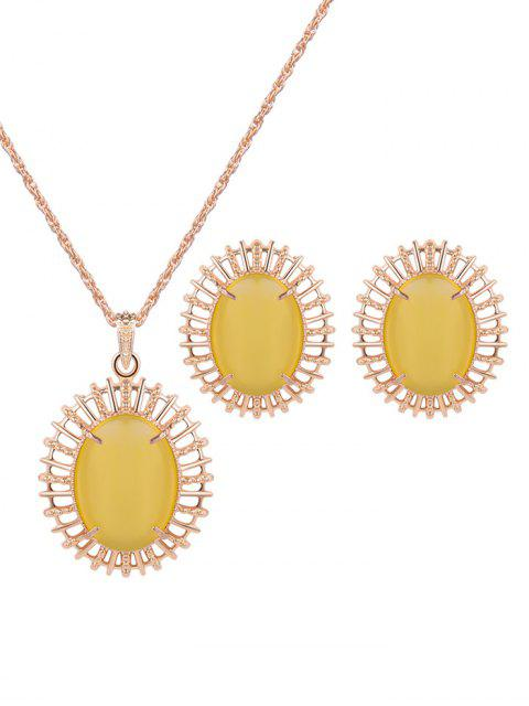 unique Oval Fake Opal Jewelry Set -   Mobile