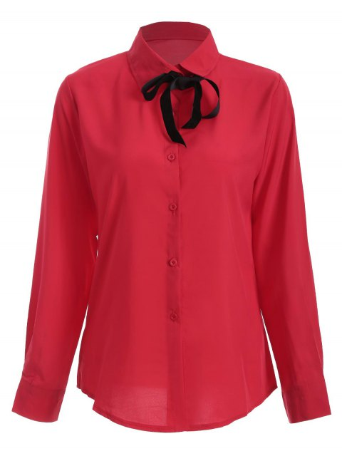 hot Bowknot Long Sleeve Button Up Shirt - RED L Mobile