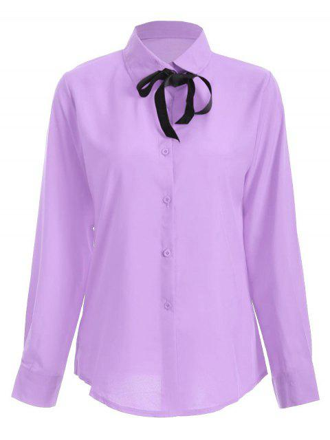 shop Bowknot Long Sleeve Button Up Shirt - LIGHT PURPLE L Mobile