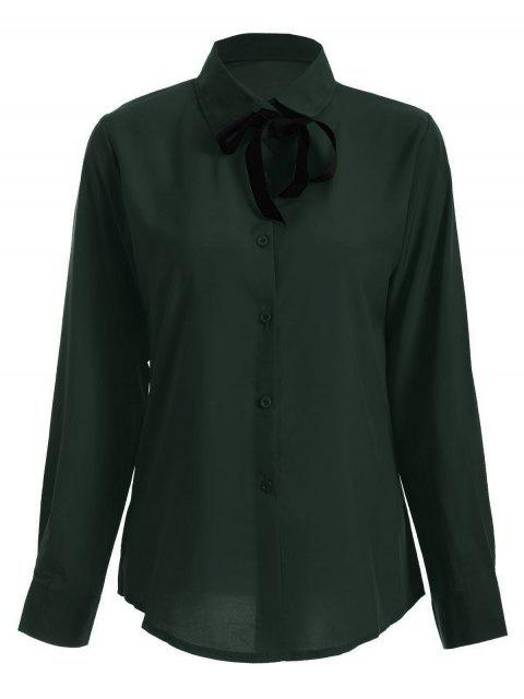 trendy Bowknot Long Sleeve Button Up Shirt - BLACKISH GREEN L Mobile