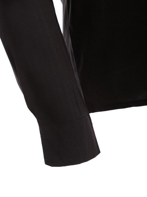 unique Bowknot Long Sleeve Button Up Shirt - BLACK M Mobile