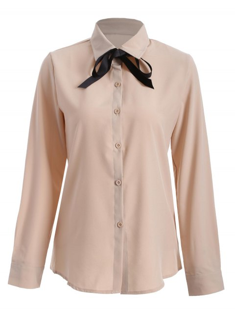 womens Bowknot Long Sleeve Button Up Shirt - APRICOT S Mobile