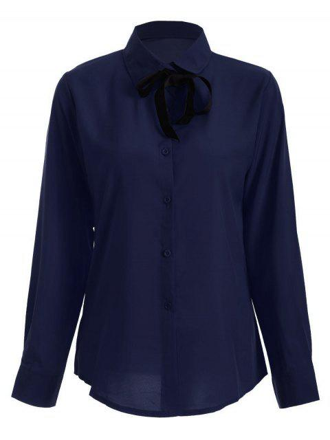 women Bowknot Long Sleeve Button Up Shirt - DEEP BLUE L Mobile