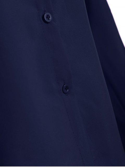 women Bowknot Long Sleeve Button Up Shirt - DEEP BLUE L Mobile