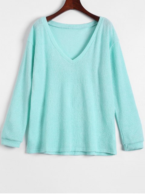outfit Long Sleeve V Neck Jumper - LIGHT GREEN M Mobile