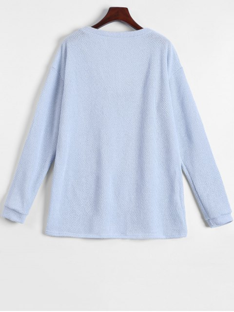 sale Long Sleeve V Neck Jumper - LIGHT BLUE XL Mobile