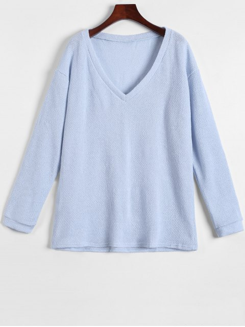 buy Long Sleeve V Neck Jumper - LIGHT BLUE M Mobile