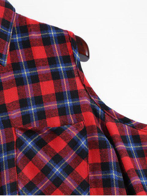 hot Plaid Buttoned Cold Shoulder Shirt - MULTICOLOR S Mobile