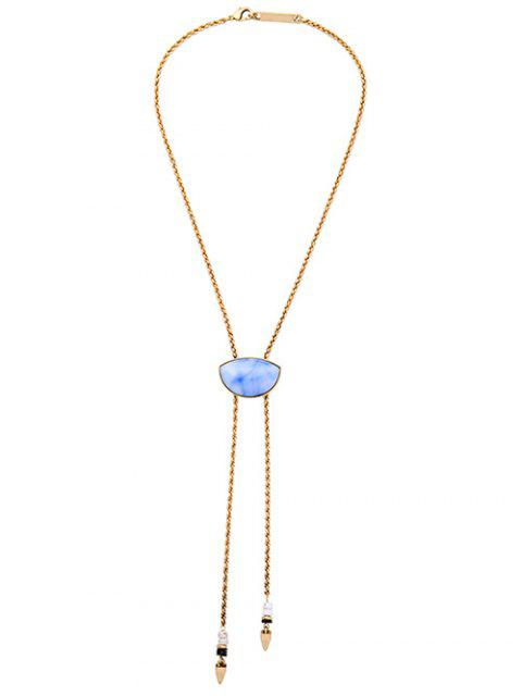 chic Geometry Fake Gem Cone Tassel Necklace - GOLDEN  Mobile