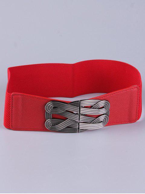 lady Faux Leather Stretch Belt - RED  Mobile