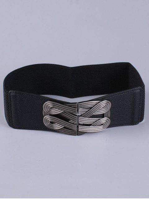 online Faux Leather Stretch Belt - BLACK  Mobile
