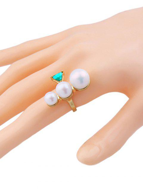 fancy Faux Pearl Geometric Gem Cuff Ring -   Mobile
