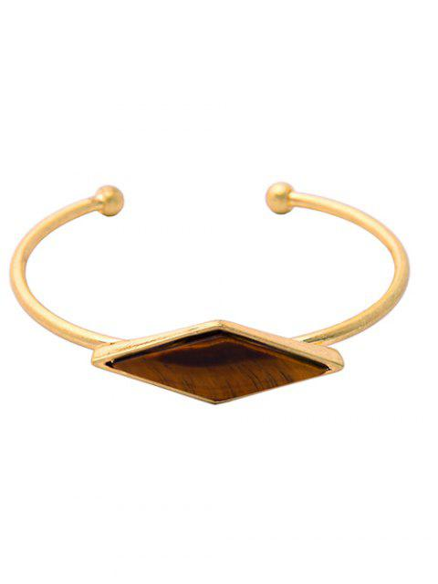 outfits Rhombus Fake Gem Alloy Cuff Bracelet - GOLDEN  Mobile