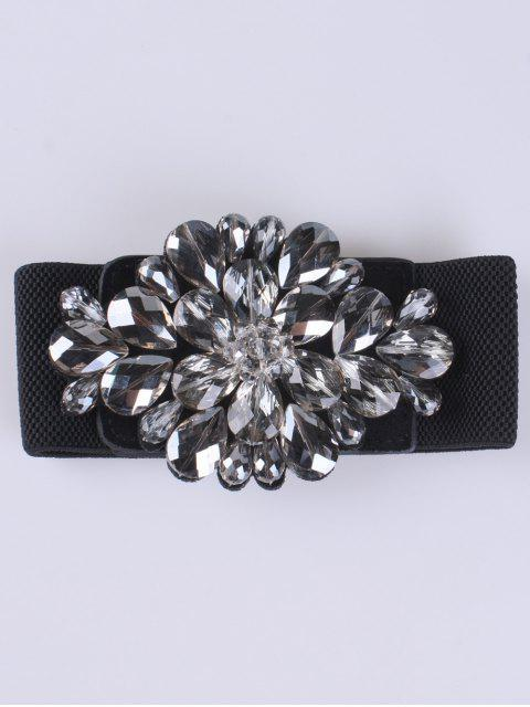 fancy Faux Crystal Elastic Wide Belt - BLACK  Mobile