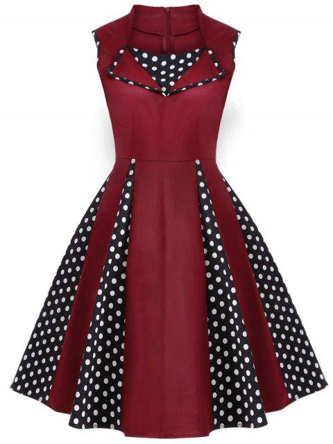 best Vintage Sleeveless Polka Dot Dress - BURGUNDY 3XL Mobile