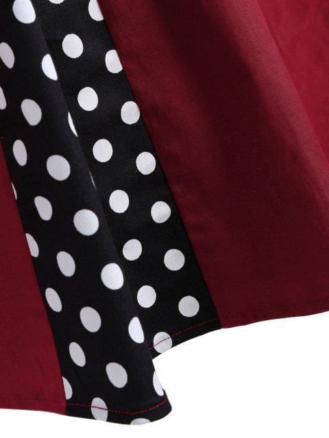 hot Vintage Sleeveless Polka Dot Dress - BURGUNDY L Mobile