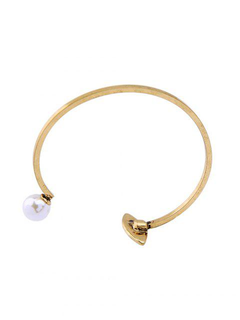 shop Rhinestone Embellished Faux Pearl Cuff Bracelet - GOLDEN  Mobile