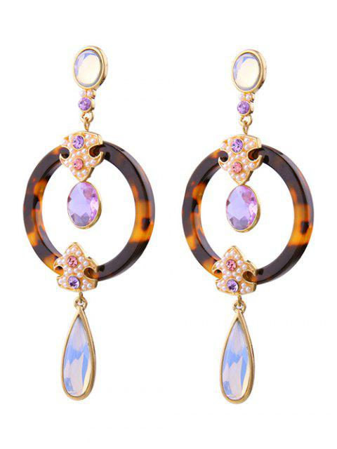 shops Leopard Water Drop Faux Crystal Earrings -   Mobile
