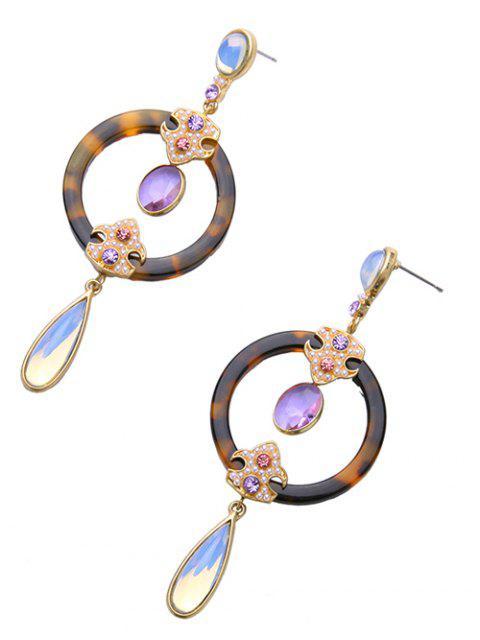 shops Leopard Water Drop Faux Crystal Earrings -   Mobile