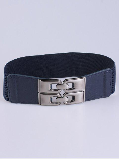 women PU Alloy Elastic Wide Belt - DEEP BLUE  Mobile