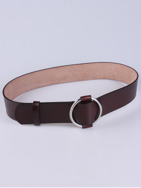 lady PU Round Buckle Adjustable Belt - MAROON  Mobile